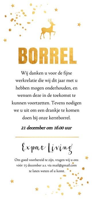Kerstborrel langwerpig goudlook typografie Achterkant