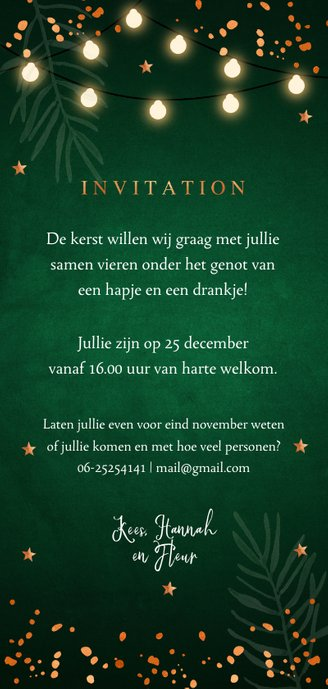 Kerstborrel uitnodiging donkergroen koper Achterkant