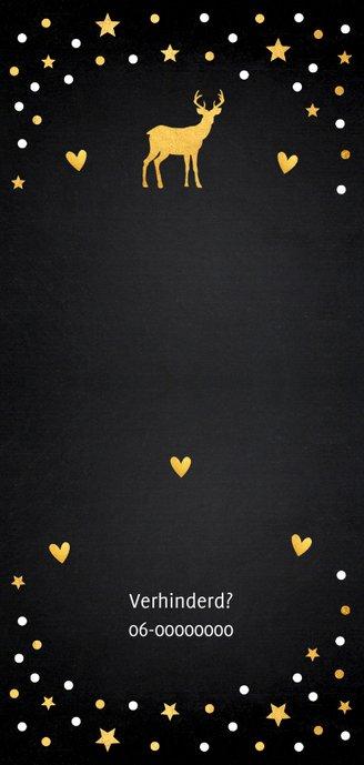 Kerstdiner uitnodiging langwerpig confetti goudlook 2