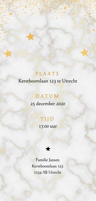 Kerstdiner uitnodiging met marmer en goudlook effecten Achterkant