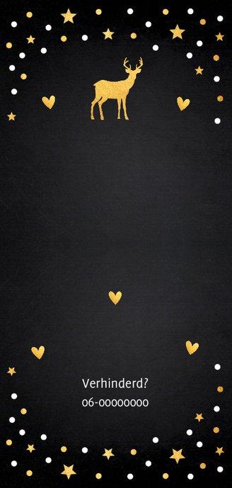 Kerstdiner uitnodiging zwart confetti goud 2
