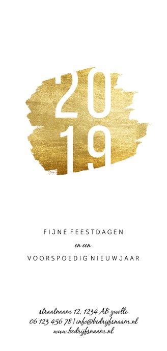 Kerstkaart '2019' langwerpig met goudaccent Achterkant