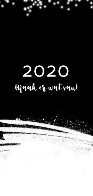 Kerstkaart 2020, met sneeuw, sterretjes en foto 2