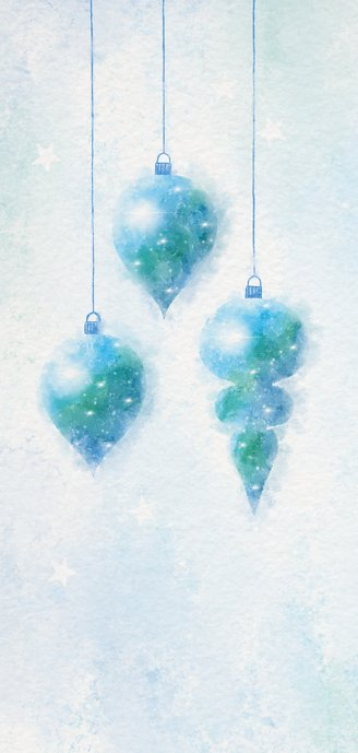 Kerstkaart blauw-groen aquarel met 3 kerstballen 2