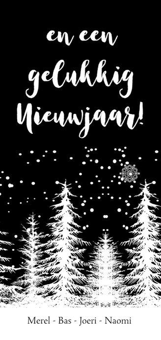 Kerstkaart bomen zwart-wit 3