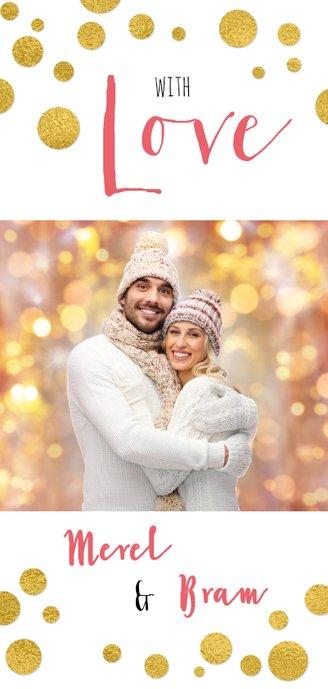 Kerstkaart confetti foto  kleur tekst aanpasbaar Achterkant