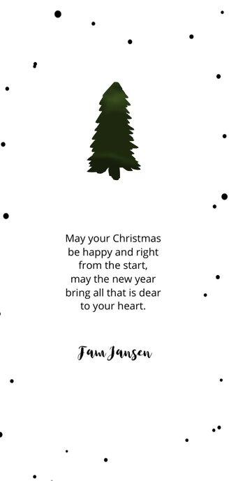Kerstkaart dennenboom Achterkant