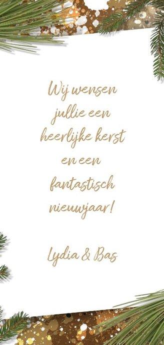 Kerstkaart foto label en kersttakken Achterkant