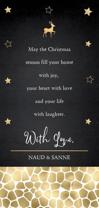Kerstkaart foto sterren panterprint goudlook Achterkant