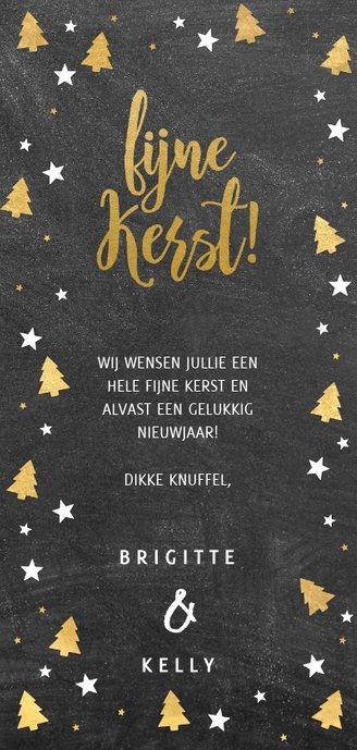 Kerstkaart grote foto, kerstbomen, sterren en 'fijne Kerst!' Achterkant