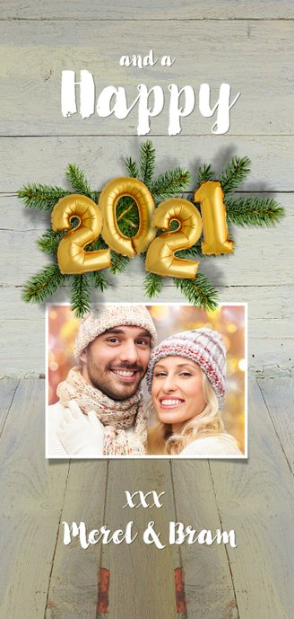 Kerstkaart hout kerstgroen en ballon goud xmas 2021 Achterkant