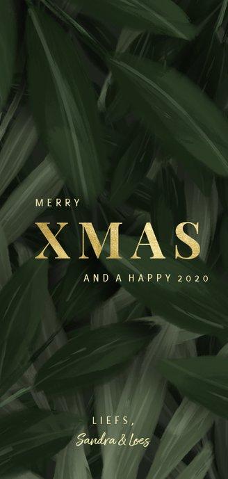 Kerstkaart jungle bladeren met foto en gouden xmas Achterkant