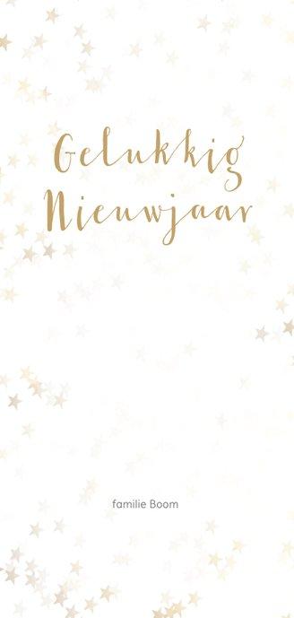 Kerstkaart kerstboom langwerpig goud - BK Achterkant