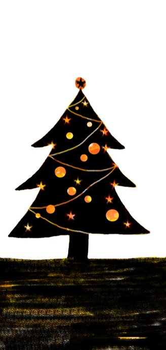 kerstkaart kerstboom zwart geel 2
