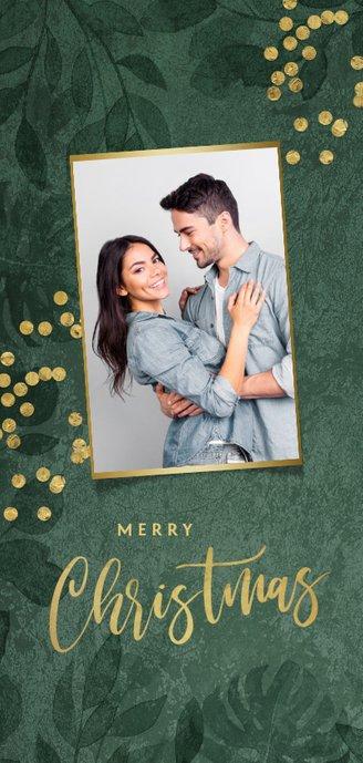 Kerstkaart kerstdiner menukaart botanisch goud confetti 2