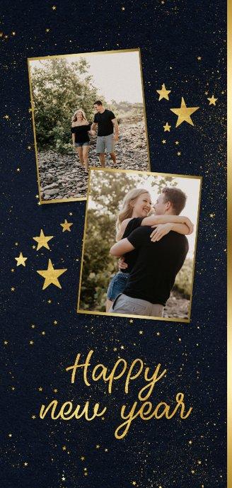 Kerstkaart langwerpig 2 foto's sterren gouden figuren 2