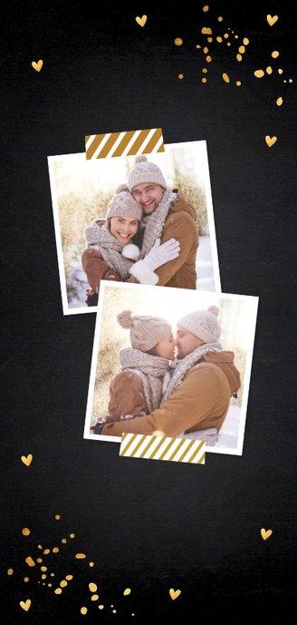 Kerstkaart langwerpig donker goud confetti 2