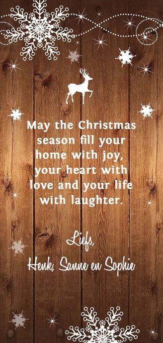 Kerstkaart langwerpig donker hout foto Achterkant