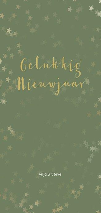 Kerstkaart langwerpig groen met kerstster - Een gouden kerst Achterkant