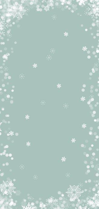 Kerstkaart langwerpig hip met eigen foto en sneeuwsterren Achterkant