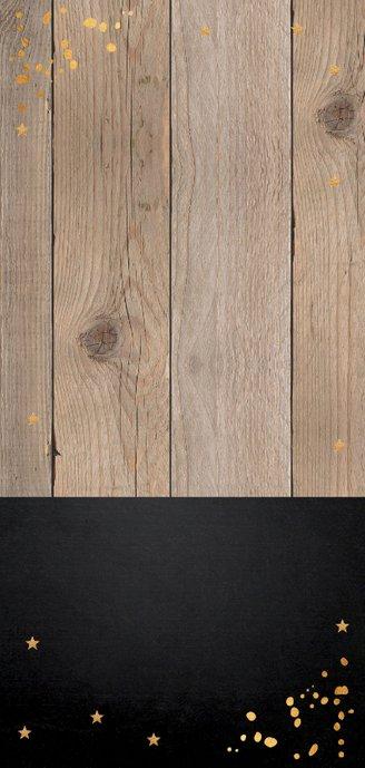 Kerstkaart langwerpig hout goudlook confetti 2