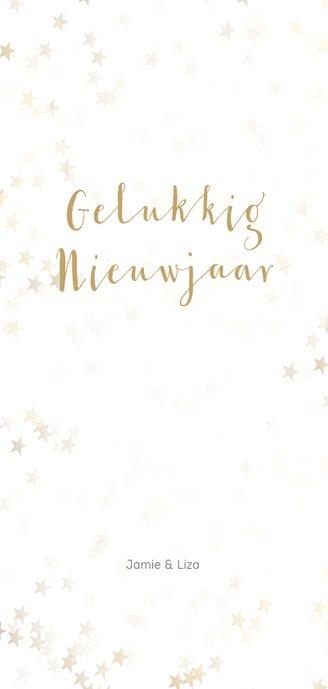 Kerstkaart langwerpig kerstster van goud - Een gouden kerst Achterkant