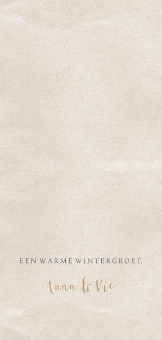 Kerstkaart langwerpig oud papier foto Achterkant