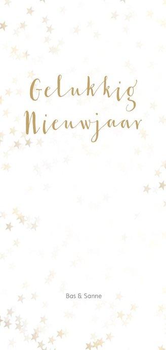 Kerstkaart langwerpig sneeuwvlok - Een gouden kerst Achterkant