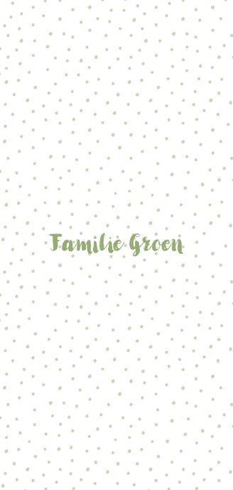Kerstkaart met groene letters, sterren en stipjes dubbel 3