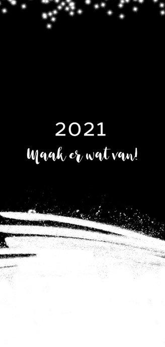Kerstkaart met sneeuw sterretjes en foto 2020-2021 2