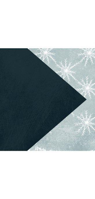 Kerstkaart modern met patroon van witte kristallen 2