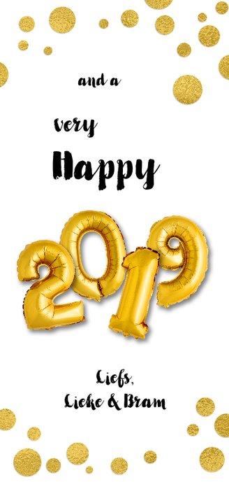 Kerstkaart moderne ballonnen goud xmas 2019 Achterkant
