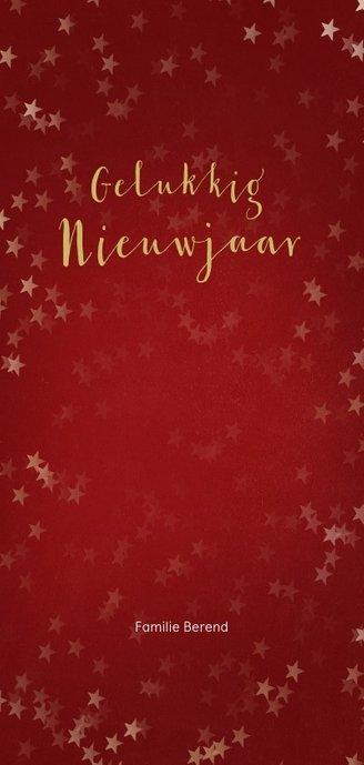 Kerstkaart rood en kerstster van goud - Een gouden kerst Achterkant