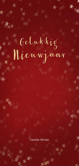 Kerstkaart rood langwerpig sneeuwvlok - Een gouden kerst Achterkant
