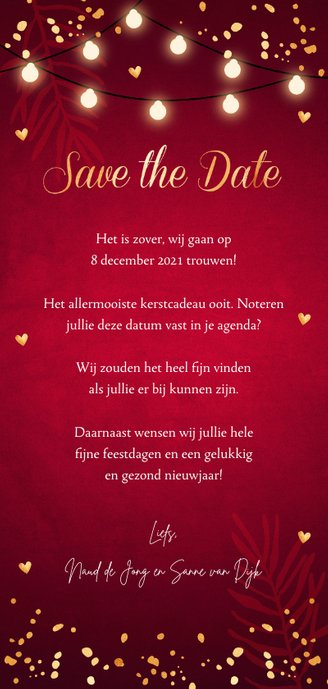 Kerstkaart Save the Date rood confetti goudlook Achterkant