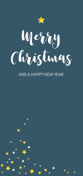 Kerstkaart sterren in wit en goudkleur Achterkant