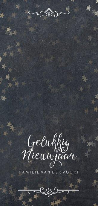 Kerstkaart sterretjes regen met krijtbord Achterkant