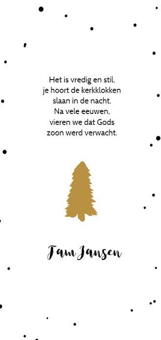 Kerstkaart stip en boom - HM Achterkant