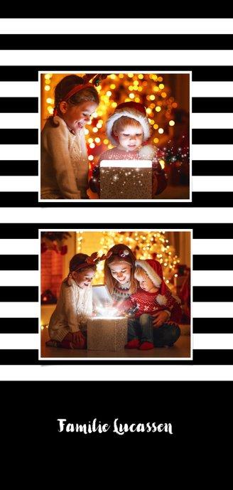 Kerstkaart streep zwart wit ballonnen goud  xmas Achterkant