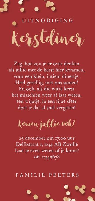 Kerstkaart uitnodiging kerstdiner ruitjes rood confetti goud Achterkant