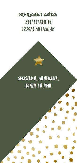 Kerstkaart verhuiskaart hip huisje stippen goudlook Achterkant