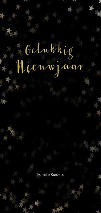 Kerstkaart zwart en kerstster van goud - Een gouden kerst Achterkant