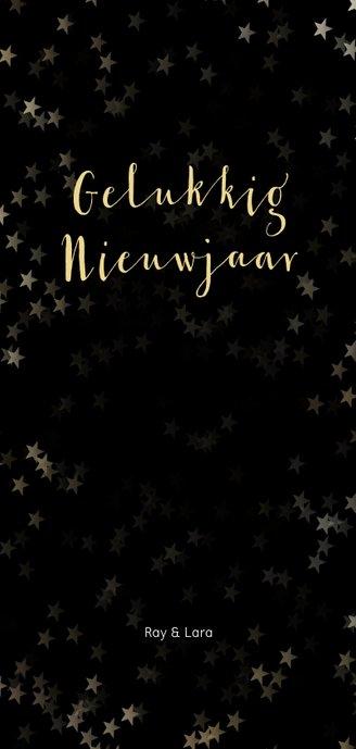Kerstkaart zwart langwerpig sneeuwvlok - Een gouden kerst Achterkant