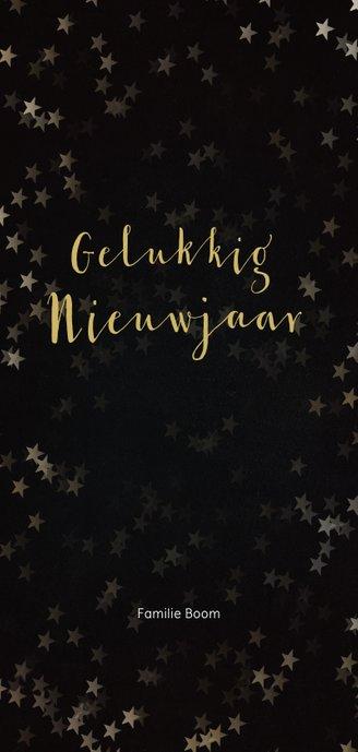 Kerstkaart zwart met gouden kerstboom - Een gouden kerst Achterkant
