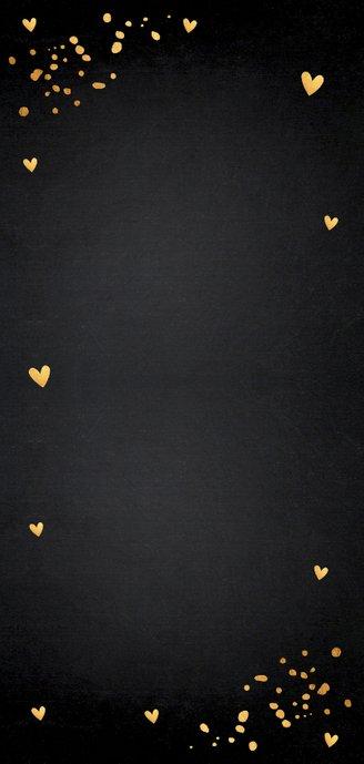 Kerstmenukaart confetti hartjes goudlook 2