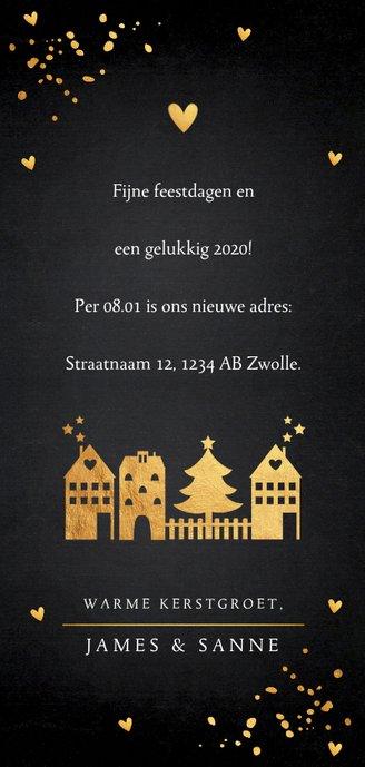 Kerstverhuiskaart langwerpig goud confetti foto Achterkant