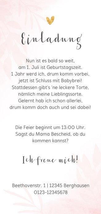 Kindergeburtstag Einladung rosa mit 2 Fotos Rückseite