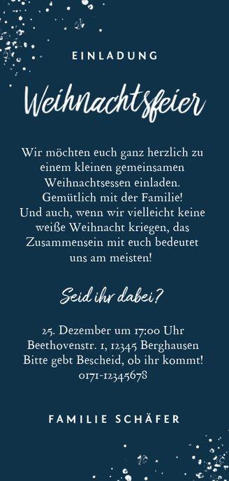 Klassische Einladung zur Weihnachtsfeier mit Foto Rückseite