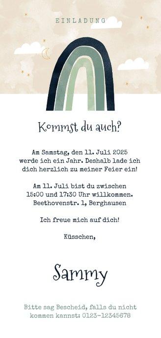 Längliche Einladung Kindergeburtstag mit Foto & Regenbogen Rückseite