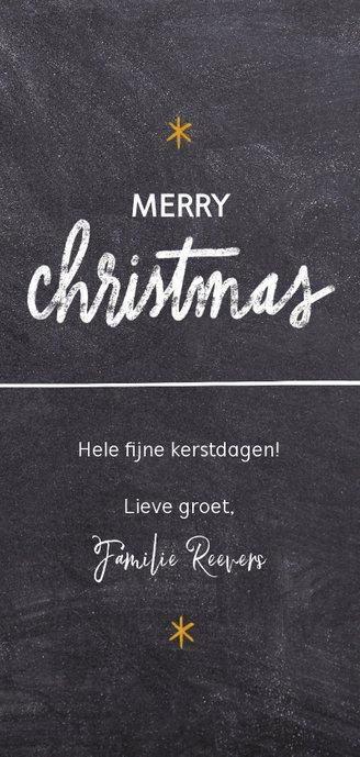 Lange fotokaart met sterren en christmas wens Achterkant